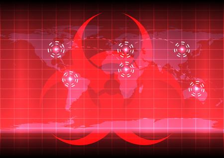 World map with bio hazard symblo  on red color background Illustration