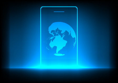 multimedia background: mobile phone technology and globe on blue background