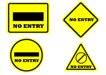 no color: sign no entry square rectangle circle triangle yellow color