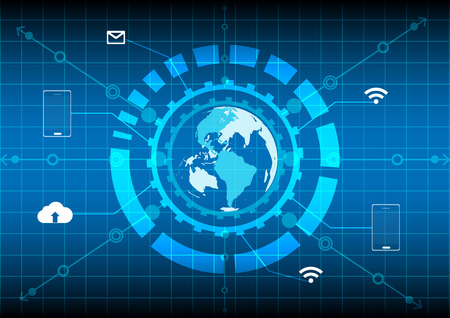 world map circle network internet mobile cloud technology on blue background Vector