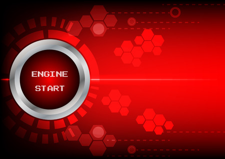 button engine start technology and ligth  on red background Vector