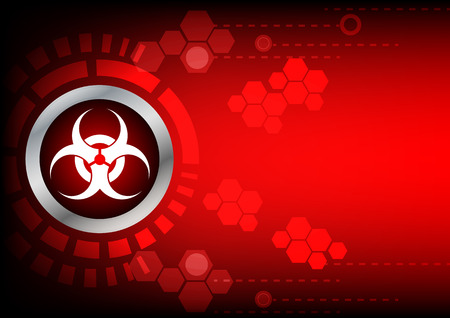rojo oscuro: bio bot�n s�mbolo de peligro y el hex�gono en el fondo de color rojo oscuro Vectores