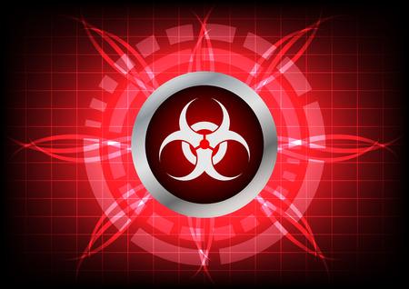 biohazard symbol: biohazard symbol and light effect on  red background