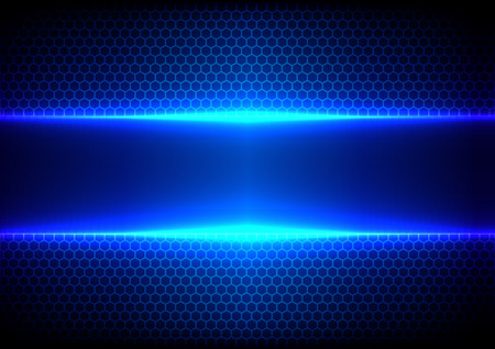 laser beam: Vector hex and light blue effect  background Illustration