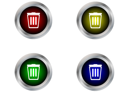 Bin button label isolated Vector