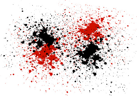 dripping paint: Abstract background with red and black color splatters