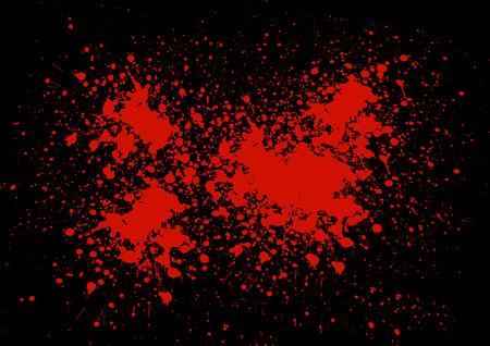 blutspritzer: Abstrakt Blut Splatter auf schwarzem Farb Illustration