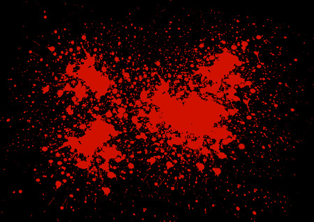 Abstract blood splatter on black color Vettoriali