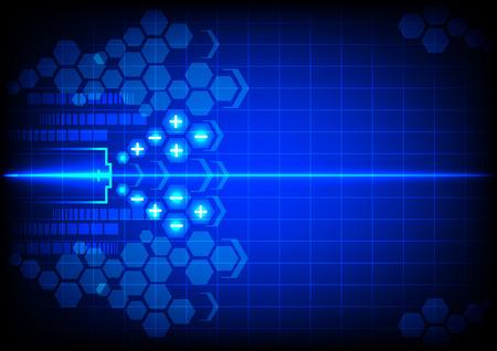 bateria: la energía de la batería abstracta sobre fondo de color azul Vectores