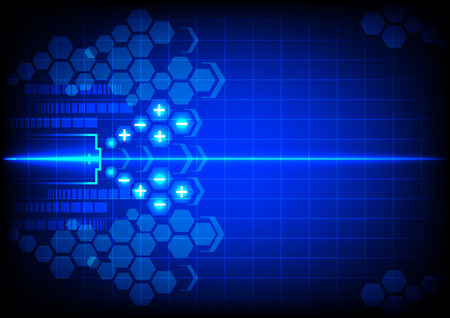 abstract battery energy on blue color background