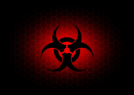 Abstract  biohazard symbol dark red background Vector