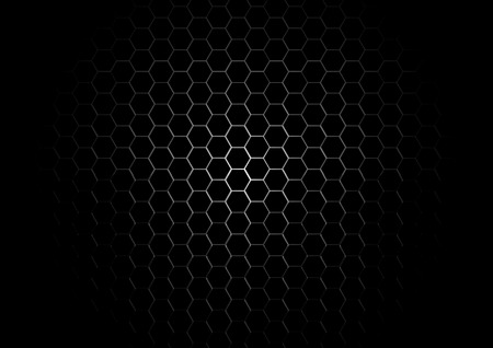 Metal Hexagon Grid on Black Background Vector
