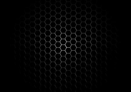 Metal Hexagon Grid on Black Background