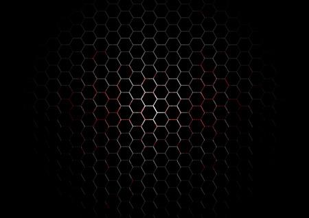 blutspritzer: Metall Hexagon Grid mit Blut Splatter auf schwarzem Hintergrund