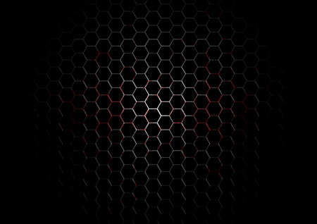 Metal Hexagon Grid with blood splatter on Black Background
