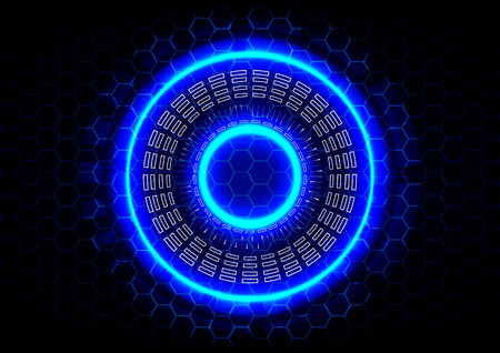abstract circle and  hexagon technology on blue background Vector