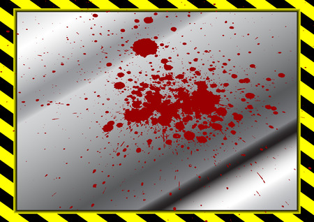 hazard stripes: vector black and yellow background with metal plate and splatter red color