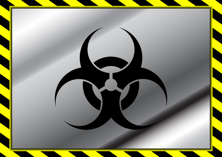 Vector biohazard symbol on metal plate and yellow caution tapes Vector