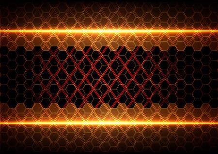 abstracte zeshoek en vierkant met licht op bruine achtergrond