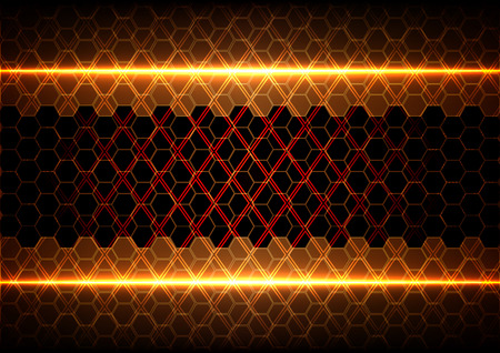 abstract hexagon and Square with light on brown  background