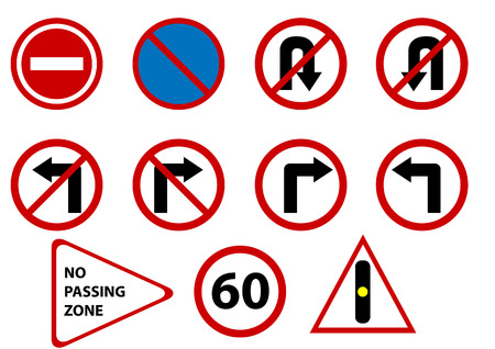 trafic stop: vector traffic signs isolated Illustration