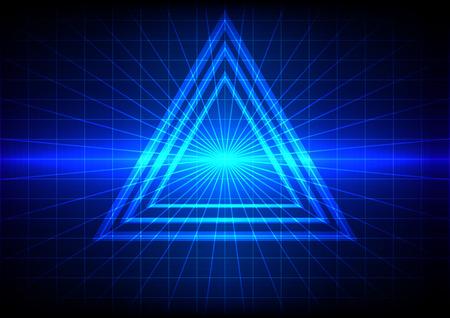 abstracte blauwe gloed en driehoek effect achtergrond