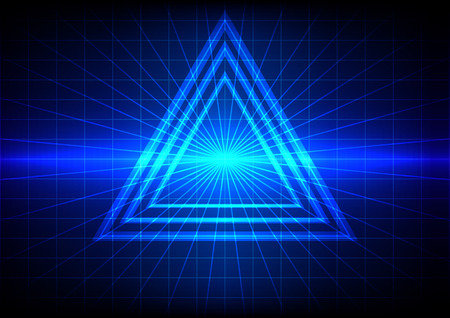 abstract blue light flare and triangle effect background Vettoriali