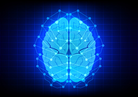 Abstract brain concept  on blue background technology Çizim