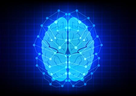 Abstracte hersenen concept op blauwe achtergrond technologie Stock Illustratie