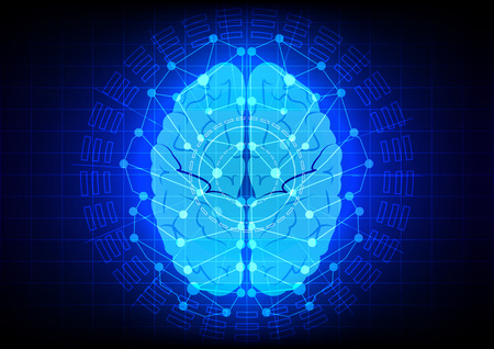electrify: Abstract  brain technology design on blue color background