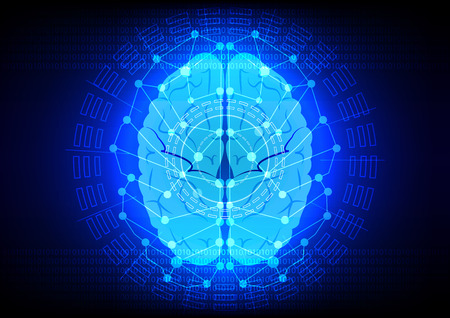abstrack brain digital technology on blue backgrond Illustration