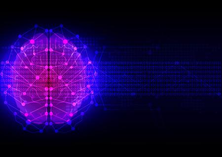 abstracte hersenen digitale technologie met kaart puntachtergrond