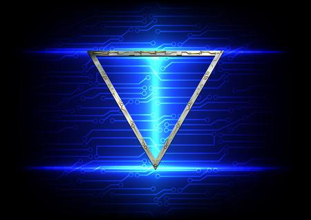 abstract blauw licht met circuit en metalen driehoek achtergrond technologie