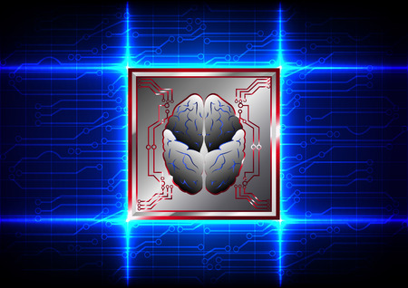 mother board: Abstract brain with circuit board technology on blue color background Illustration