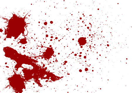 blood stain: Abstract red color splatter on white background Illustration