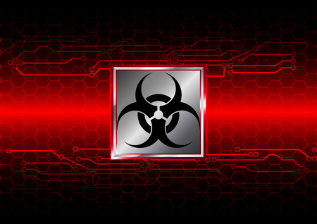 caution chemistry: Abstract biohazard with hexagon and circuit  background Stock Photo