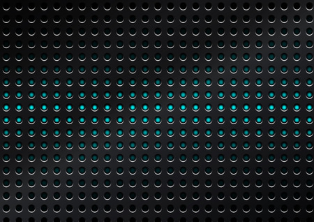 perforated: Vector metal surface dotted perforated carbon with blue dot background