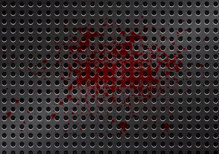 Vector metal grid with splatter red color background photo