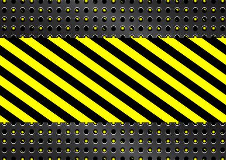 Vector Metalen rooster met gele en zwarte strepen