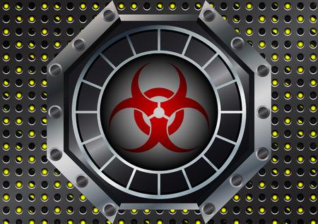 riesgo biologico: Extracto del símbolo del Biohazard con rejilla metálica en rayas amarillas y negras