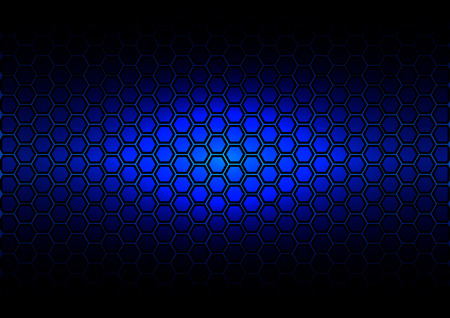 reflective: abstract pattern hexagon  on dark blue color background