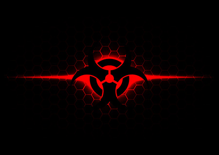 Abstract biohazard symbol with hexagon pattern on dark red background