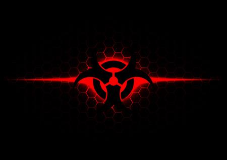 rojo oscuro: Resumen s�mbolo de riesgo biol�gico con el patr�n hexagonal en el fondo de color rojo oscuro