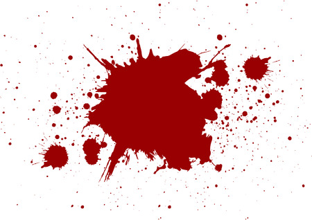 abstract splatter red color on white color background,isolate