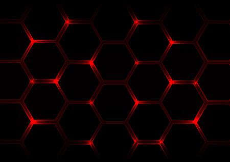 Abstrakter dunkelroter Hintergrund mit Sechsecken und rotem Licht Vektorgrafik
