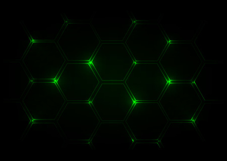 creative arts: Abstract dark green  background with hexagons Illustration
