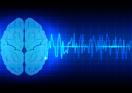 cerebro: Concepto abstracto de las ondas cerebrales en azul de fondo la tecnología