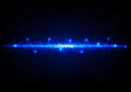 rayo electrico: Luz abstracta tecnología fondo azul Vectores