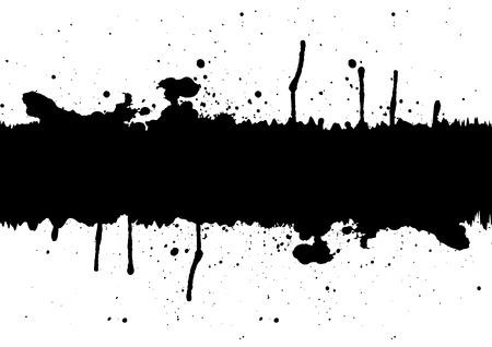 ink splatter: Abstract black ink splatter background element with a space.illustration vector Illustration