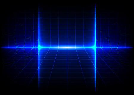 Abstracte blauwe technologie concept achtergrond met felle gloed